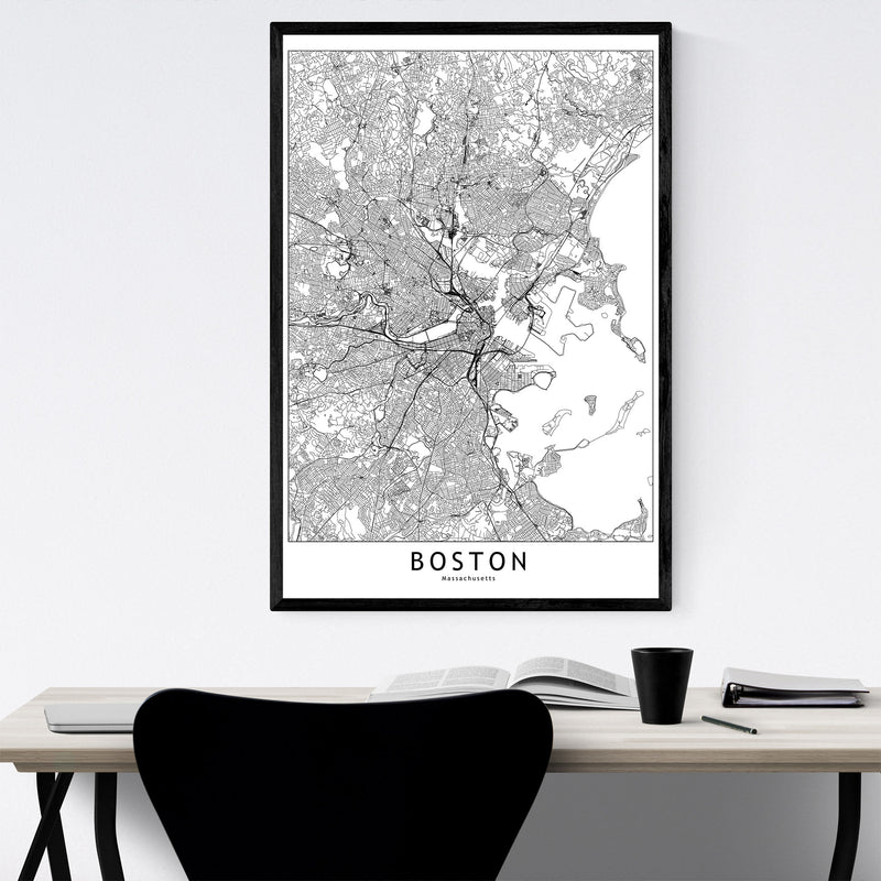 Boston Black & White City Map Framed Art Print