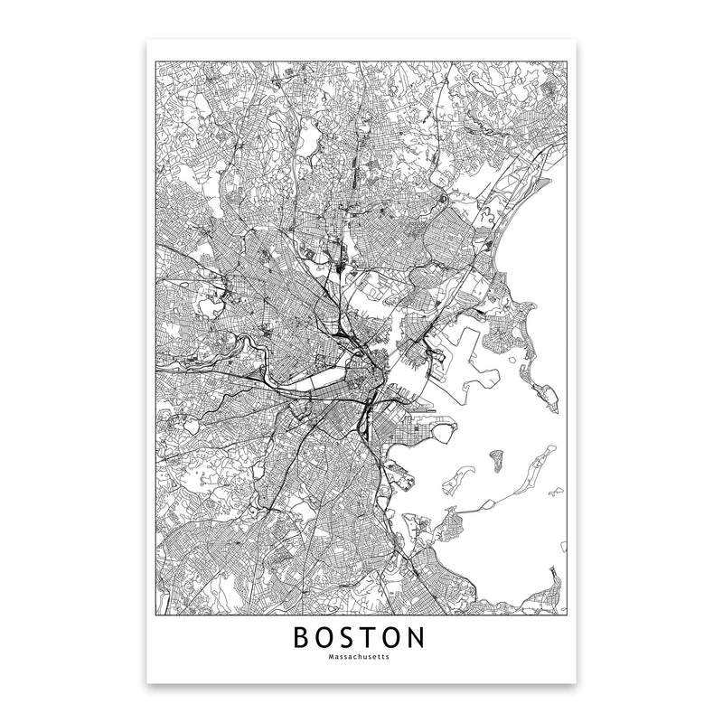 Boston Black & White City Map Metal Art Print