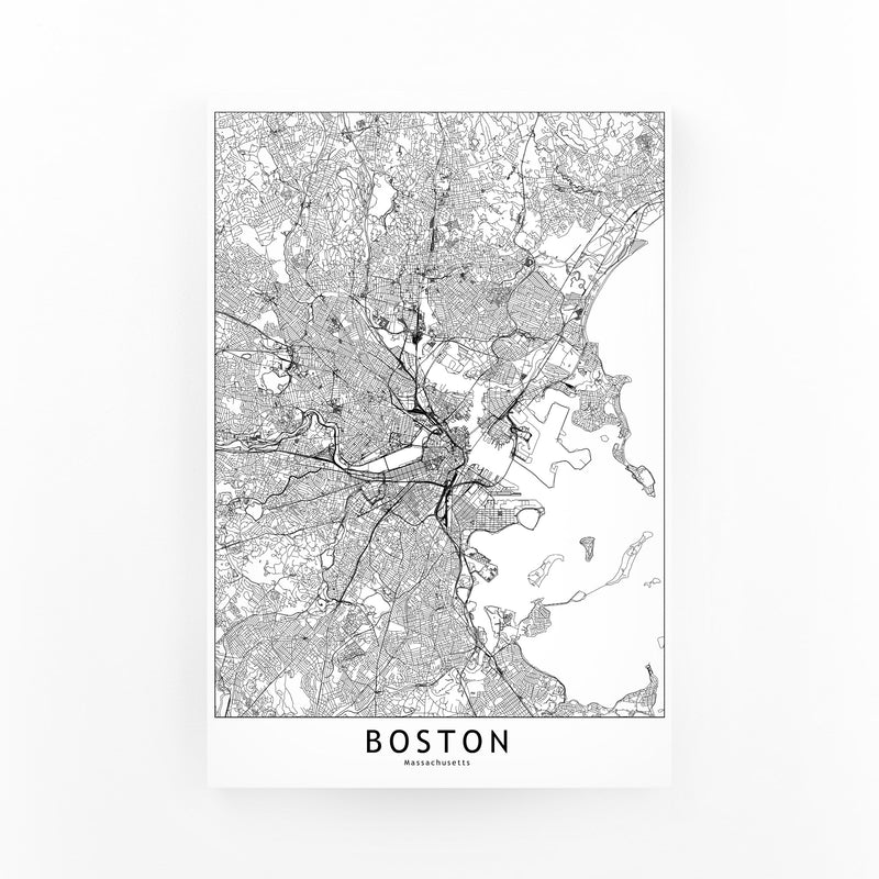 Boston Black & White City Map Canvas Art Print