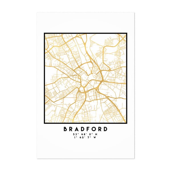 Minimal Bradford City Map Art Print
