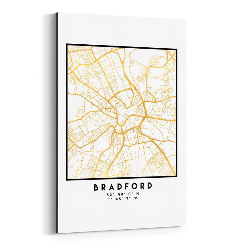 Minimal Bradford City Map Canvas Art Print