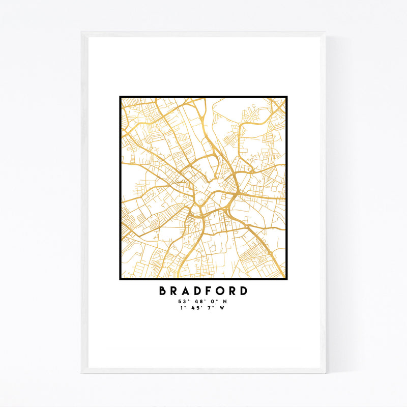 Minimal Bradford City Map Framed Art Print