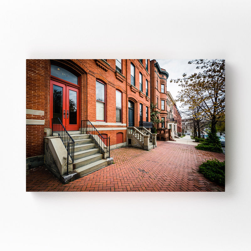 Houses in Bolton Hill Baltimore Canvas Art Print