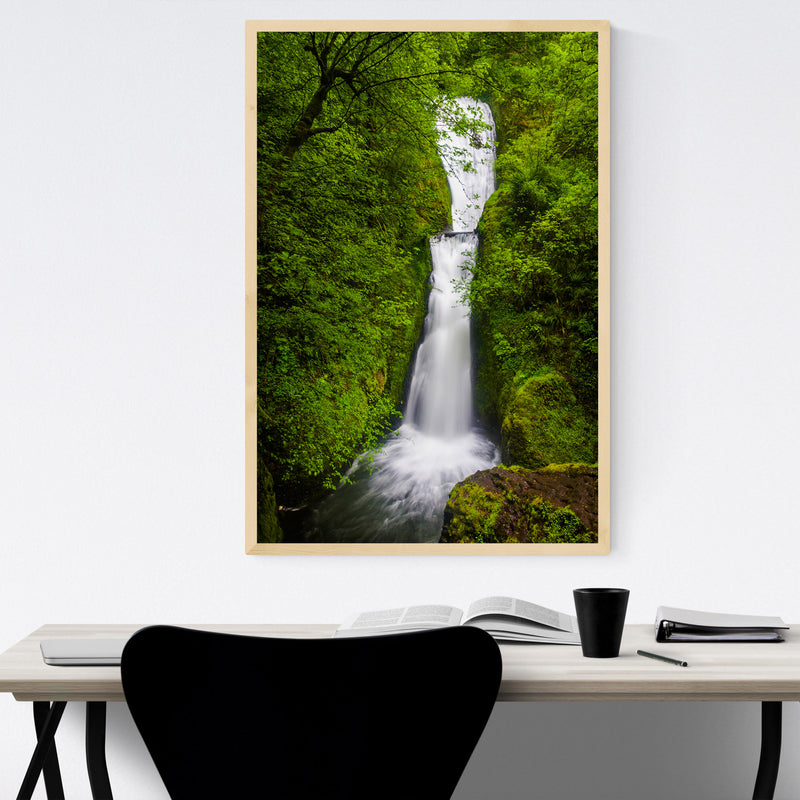 Oregon Waterfall Forest Nature Framed Art Print