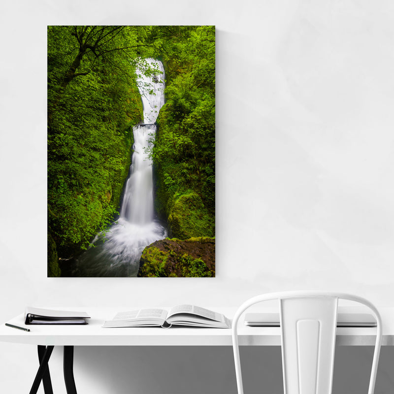 Oregon Waterfall Forest Nature Metal Art Print