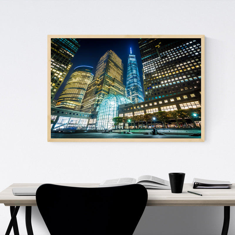 Lower Manhattan Skyline NYC Framed Art Print
