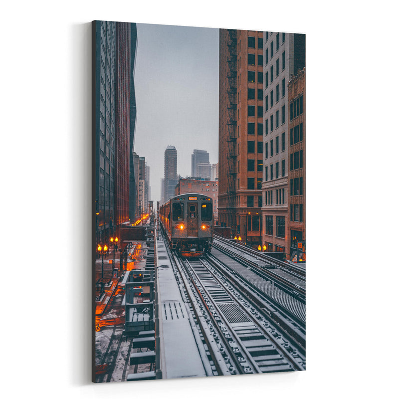 Chicago Snow Storm Winter City Canvas Art Print