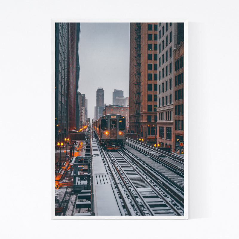 Chicago Snow Storm Winter City Framed Art Print