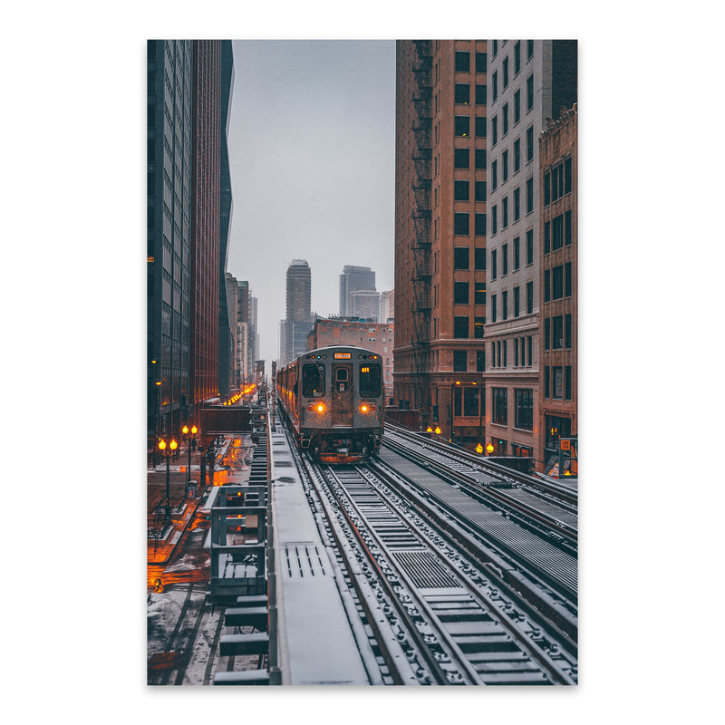 Chicago Snow Storm Winter City Metal Art Print