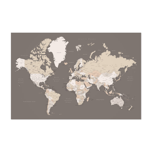 Brown World Map with Cities Art Print