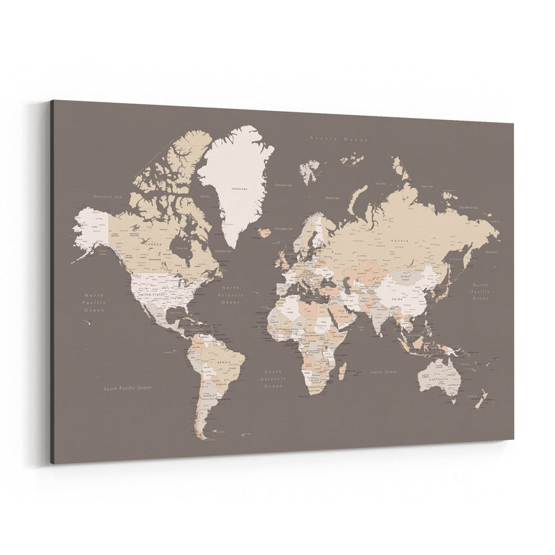 Brown World Map with Cities Canvas Art Print