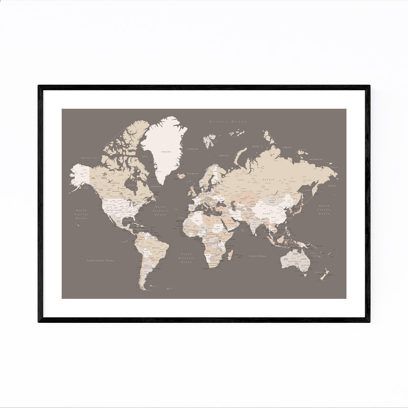 Brown World Map with Cities Framed Art Print