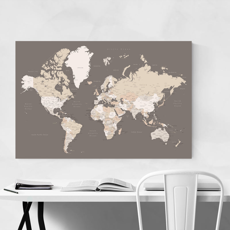 Brown World Map with Cities Metal Art Print