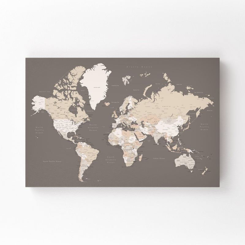 Brown World Map with Cities Mounted Art Print
