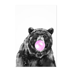 Cute Pink Bear Peekaboo Animal Art Print
