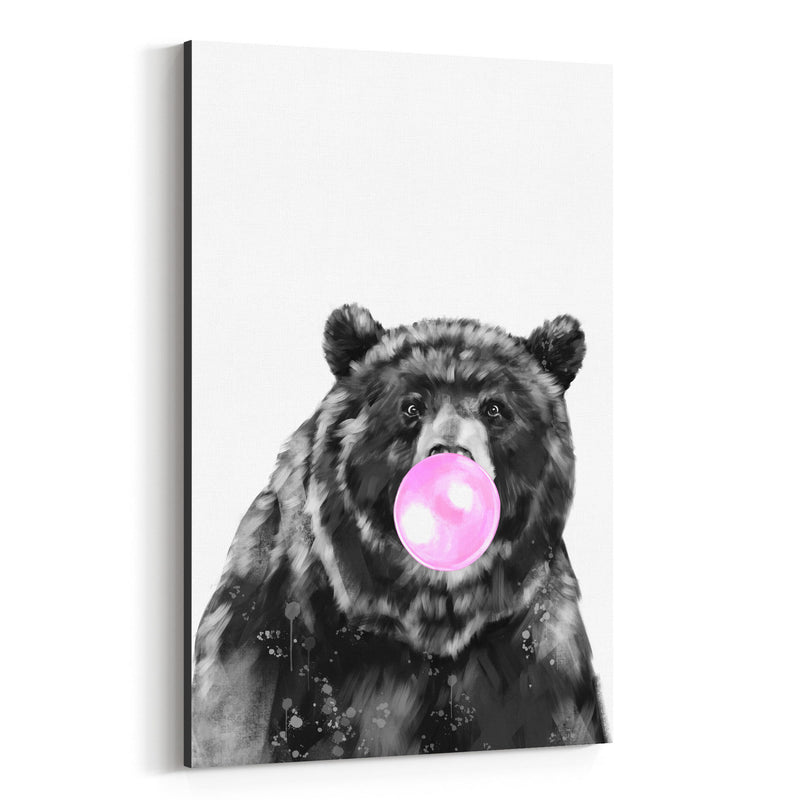 Cute Pink Bear Peekaboo Animal Canvas Art Print