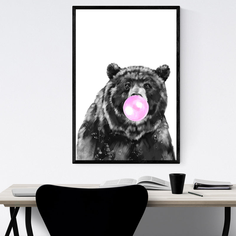 Cute Pink Bear Peekaboo Animal Framed Art Print