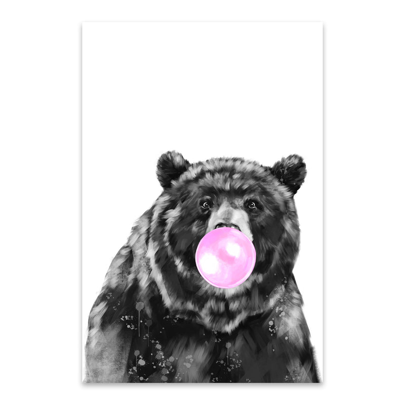 Cute Pink Bear Peekaboo Animal Metal Art Print