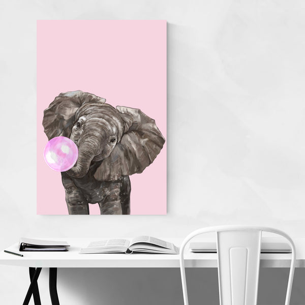 Pink Elephant Peekaboo Animal Art Print