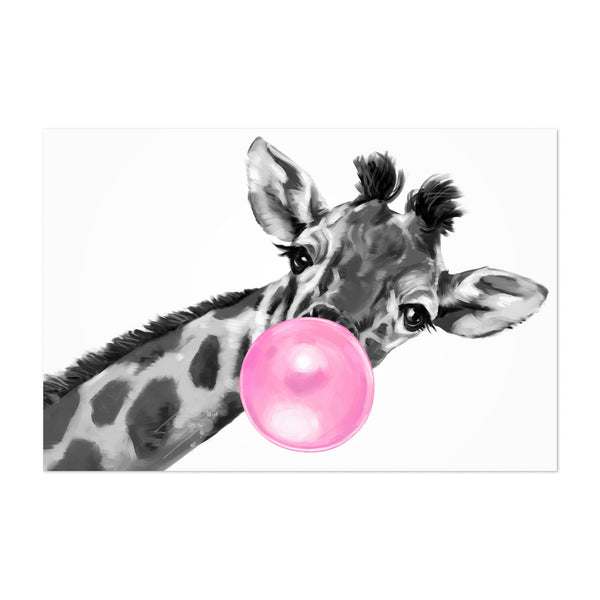 Pink Giraffe Peekaboo Animal Art Print