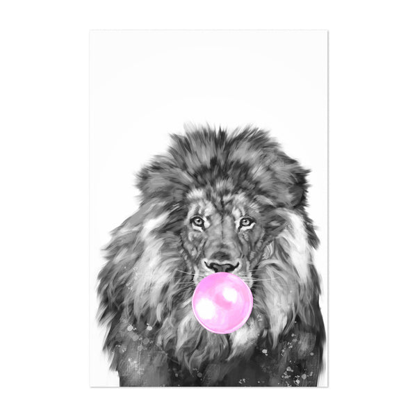 Cute Pink Lion Peekaboo Animal Art Print