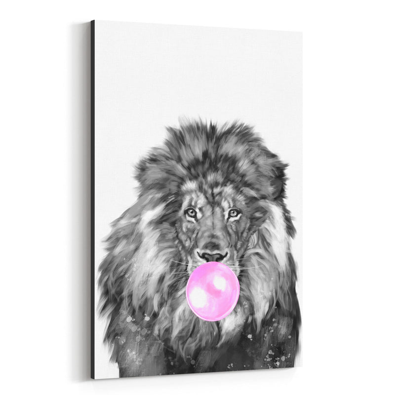 Cute Pink Lion Peekaboo Animal Canvas Art Print