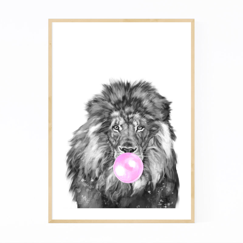 Cute Pink Lion Peekaboo Animal Framed Art Print