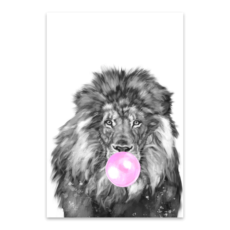 Cute Pink Lion Peekaboo Animal Metal Art Print