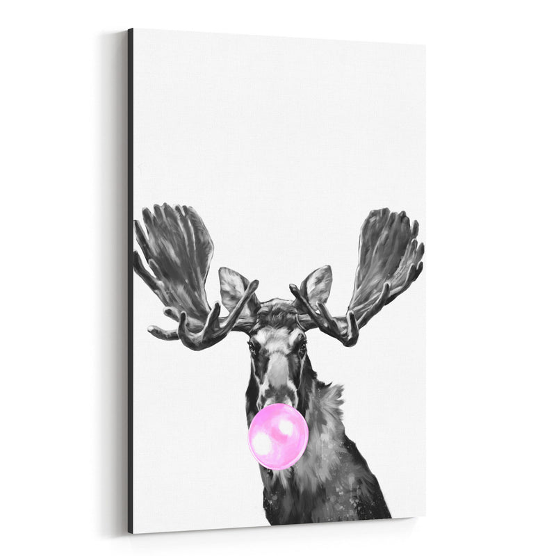 Cute Pink Moose Peekaboo Animal Canvas Art Print