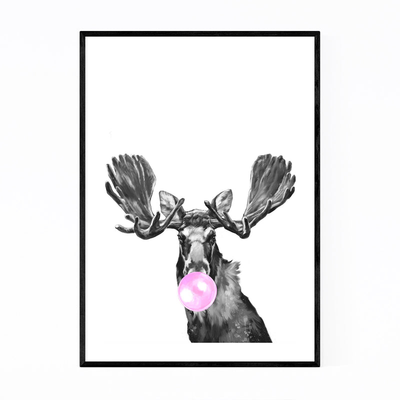 Cute Pink Moose Peekaboo Animal Framed Art Print