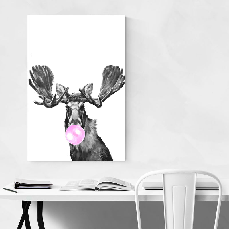 Cute Pink Moose Peekaboo Animal Art Print