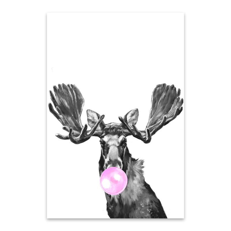 Cute Pink Moose Peekaboo Animal Metal Art Print