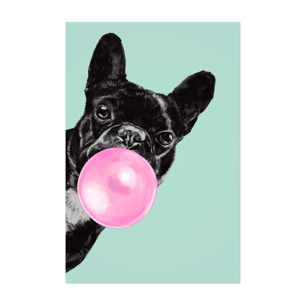 Pink Bulldog Peekaboo Animal Art Print