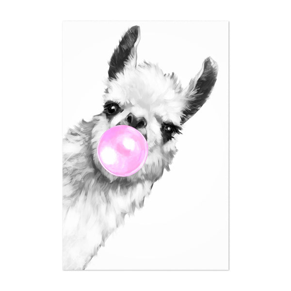 Cute Pink Llama Peekaboo Animal Art Print