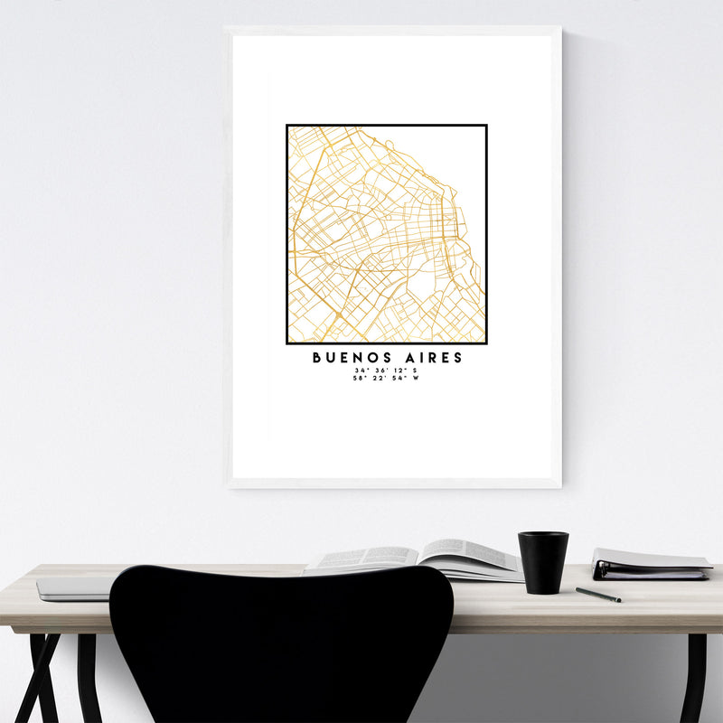 Minimal Buenos Aires City Map Framed Art Print