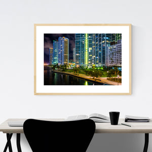 Miami Beach, Florida Skyline Framed Art Print
