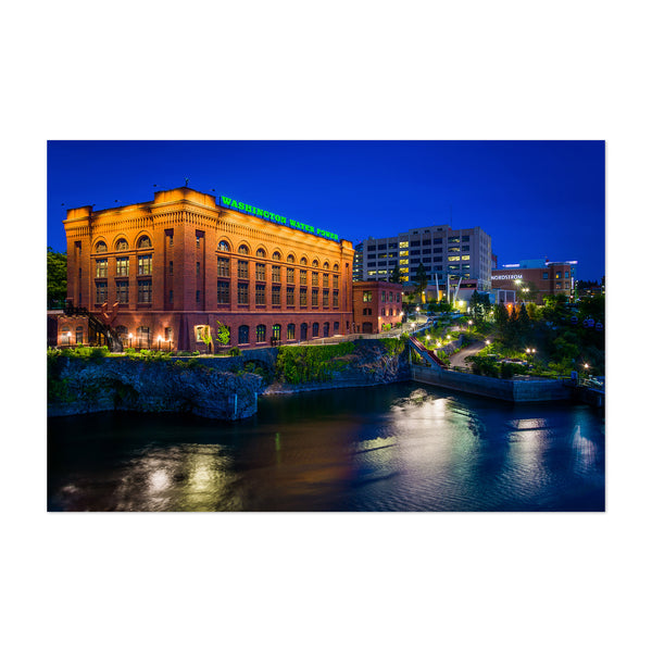 Spokane Washington Skyline Night Art Print