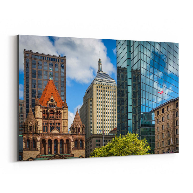 Boston Copley Square Urban Canvas Art Print