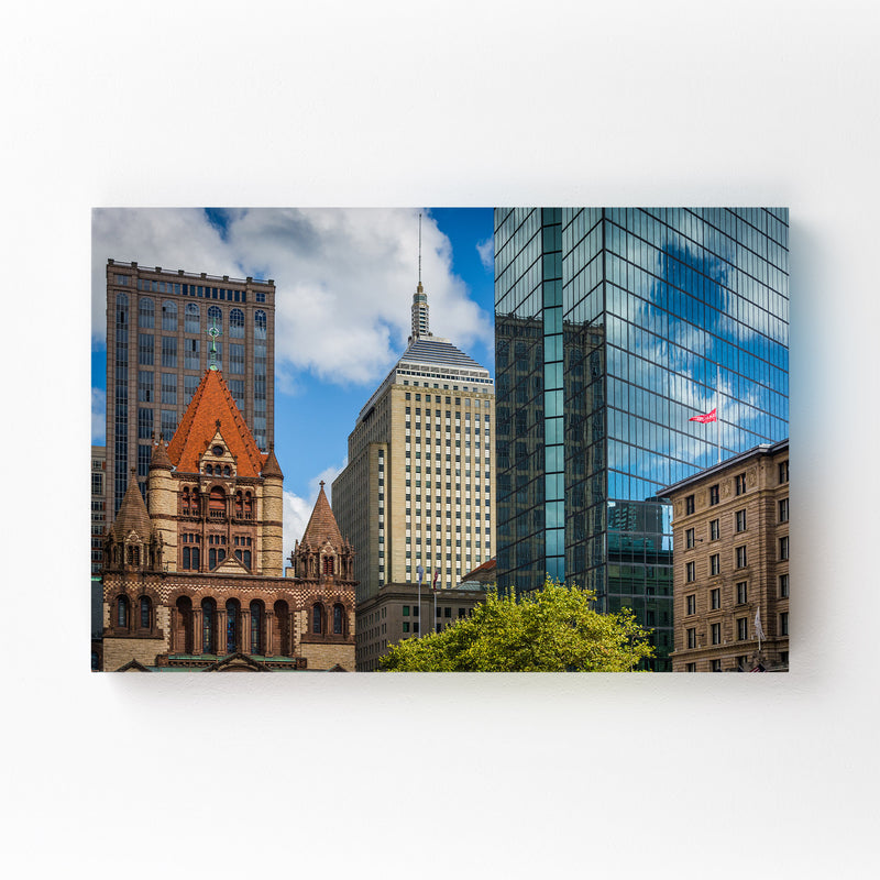 Boston Copley Square Urban Mounted Art Print