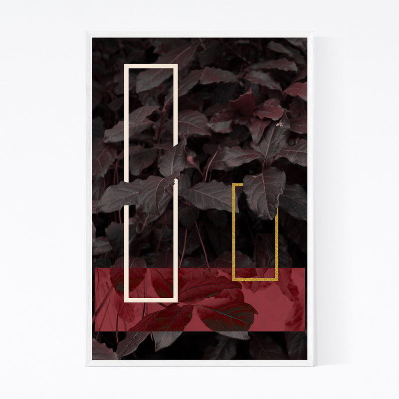 Geometric Abstract Leaf Digital Framed Art Print