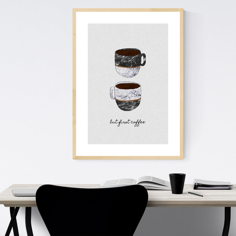 Cute Coffee Kitchen Typography Framed Art Print
