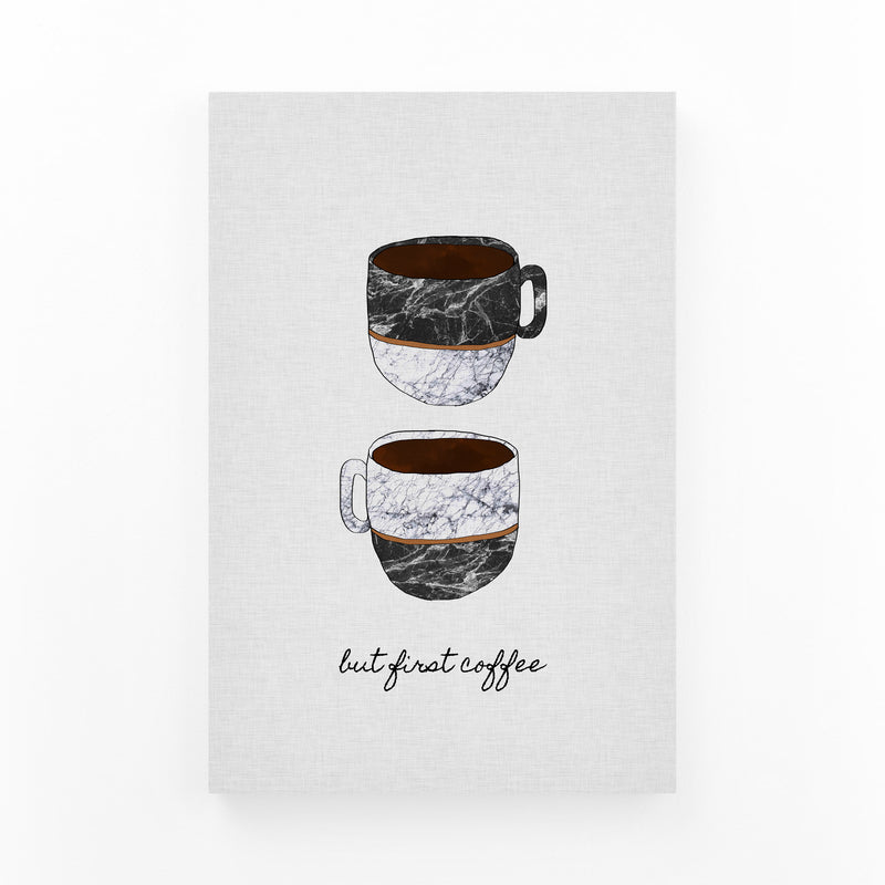 Cute Coffee Kitchen Typography Canvas Art Print