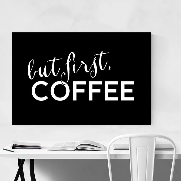 Black Coffee Kitchen Typography  Art Print