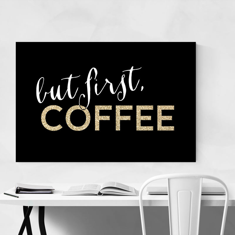 Gold Coffee Kitchen Typography  Canvas Art Print