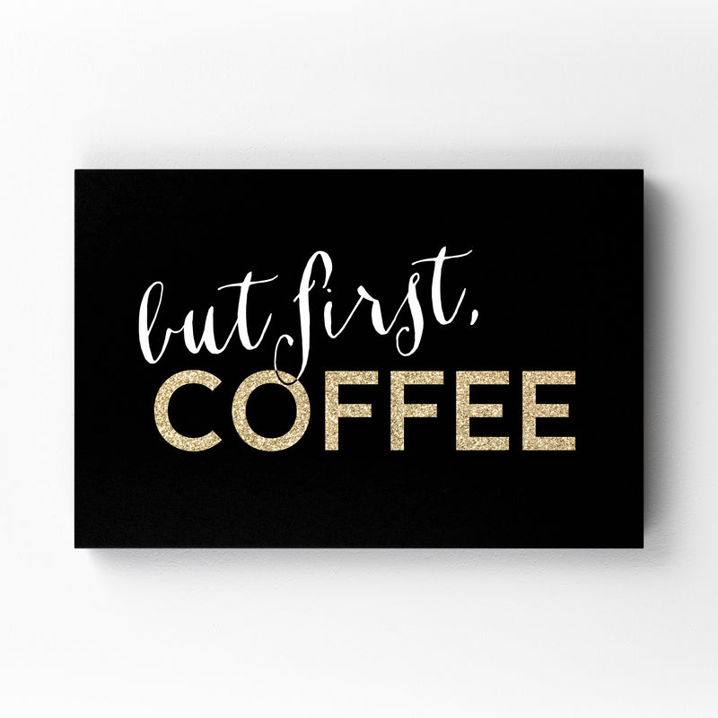 Gold Coffee Kitchen Typography  Mounted Art Print
