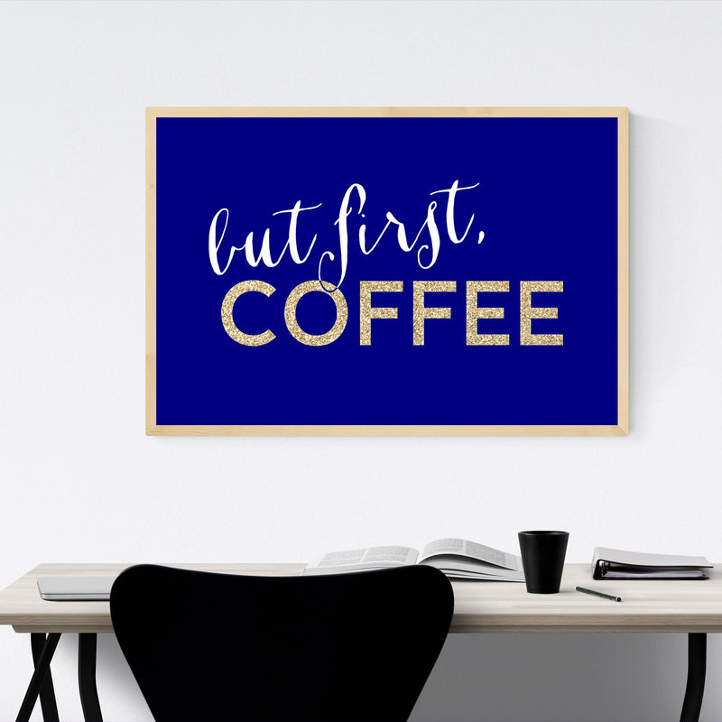 Blue Coffee Kitchen Typography  Framed Art Print