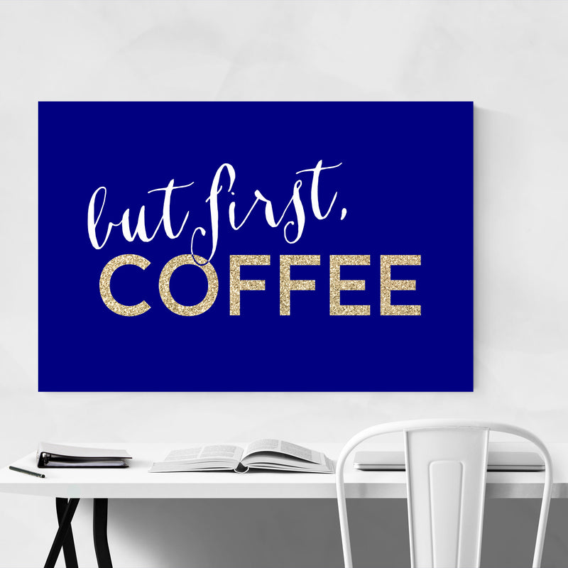 Blue Coffee Kitchen Typography  Canvas Art Print