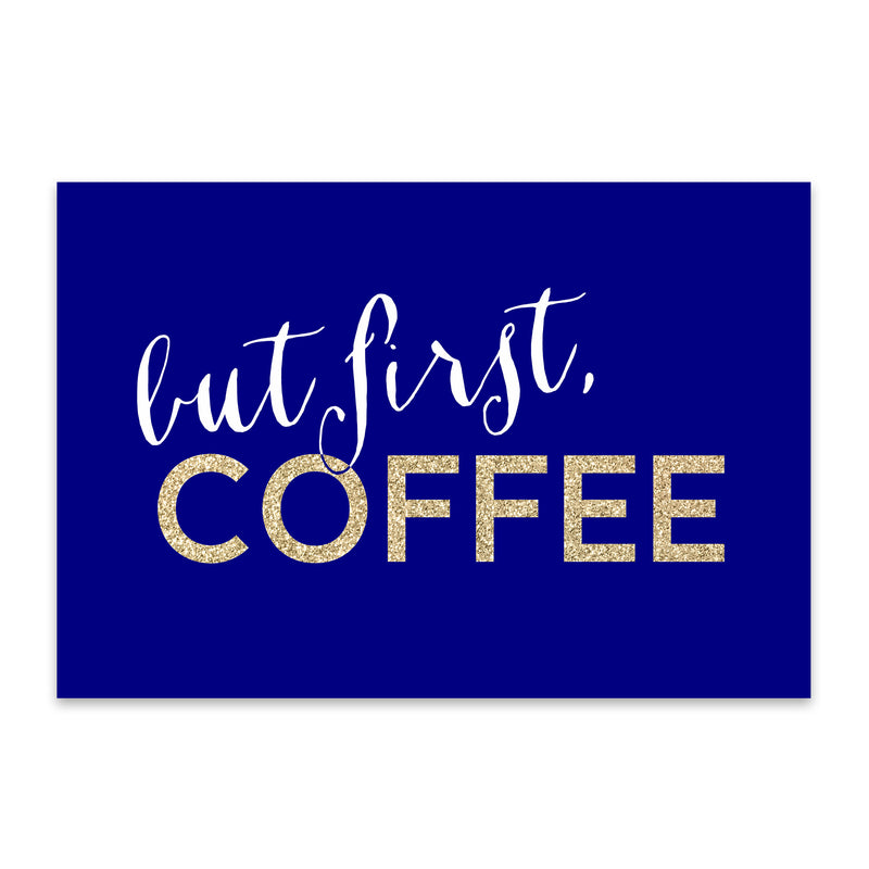 Blue Coffee Kitchen Typography  Metal Art Print