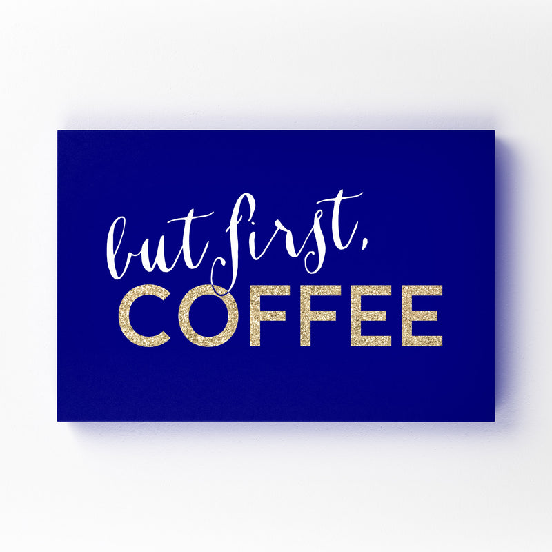 Blue Coffee Kitchen Typography  Mounted Art Print