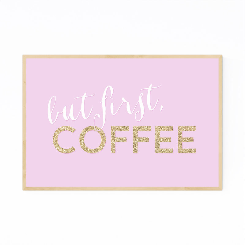 Pink Coffee Kitchen Typography  Framed Art Print